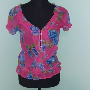 Abercrombie sheer floral blouse
